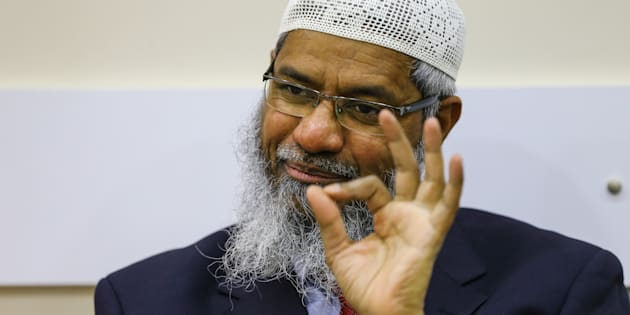 President of the Islamic Research Foundation (IRF) and founder of Peace TV channel Zakir Naik delivers a speech.