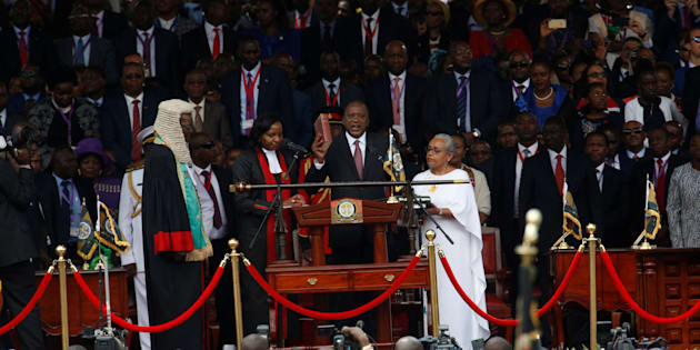 Kenya's President Uhuru Kenyatta takes oath of office during inauguration ceremony at Kasarani Stadium in Nairobi, Kenya November 28, 2017.