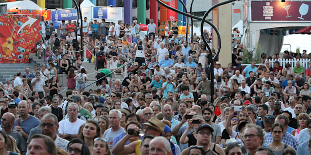Crowds  during the 2018 Festival International de Jazz de Montreal at Quartier des spectacles on July 3, 2018 in Montreal.