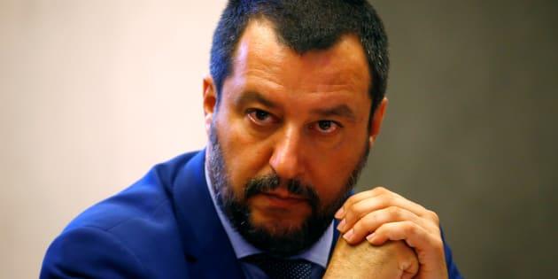 """Matteo Salvini (ici à Rome le 20 juin) dénonce les """"insultes"""" de """"l'arrogant président français"""" Emmanuel Macron sur la question des migrants"""