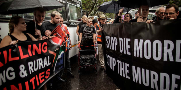 Members of the South African civil society organisation AfriForum and other civil organisation members prepare to march to the Union Buildings to raise awareness on farm attacks on November 25, 2017 in Pretoria, South Africa.