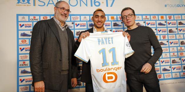 La présentation de la recrue Dimitri Payet à Marseille le 30 janvier 2017.