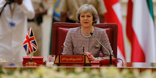 """British Prime Minister Theresa May attends the first Gulf Cooporative Council's (GCC) """" GCC British Summit"""", in Sakhir Palace Bahrain, December 7, 2016. REUTERS/Hamad I Mohammed"""