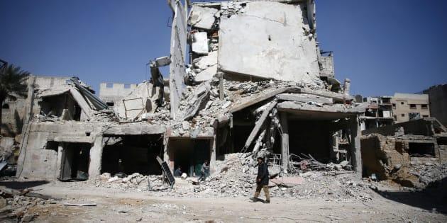 Des bâtiments endommagés à Douma en Syrie le 2 mars 2018.