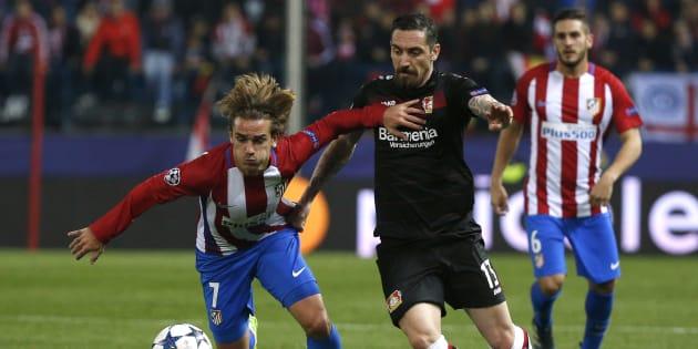 Antoine Griezmann lors de Atlético Madrid-Bayer Leverkusen le 15 mars 2017.