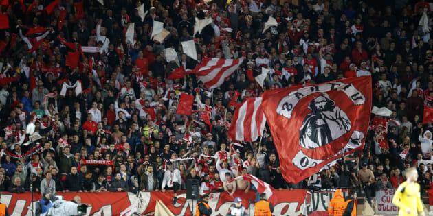 Les supporters monégasques lors de Monaco-Dortmund en Ligue des champions le 19 avril 2017.