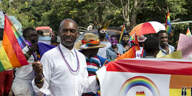 Members of the LGBTI community parade in Entebbe, Uganda, August 8, 2015. The community was celebrating one year since the Anti-Homosexuality Act was annulled by Uganda's constitutional court, which previously carried a death sentence.