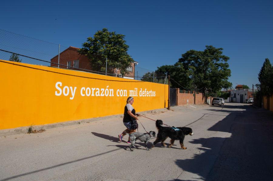 Uno de los muros pintados por Boa Mistura en la Cañada Real (Madrid).