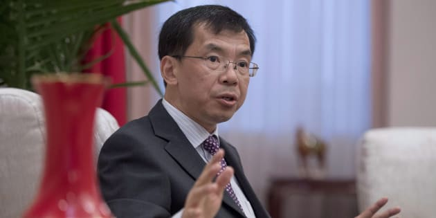China's Ambassador to Canada Lu Shaye participates in an interview at the Embassy of the People's Republic of China in Canada, in Ottawa on June 29, 2017.