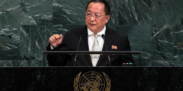 North Korea's Foreign Minister Ri Yong Ho addressed the 72nd session of the United Nations General assembly in New York on September 23, 2017.
