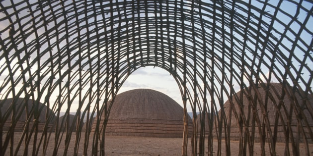 The Nguni construct beehive houses, a circular structure out of long poles, which is covered with grass.