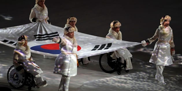 Le drapeau sud-coréen durant les cérémonies d'ouverture.