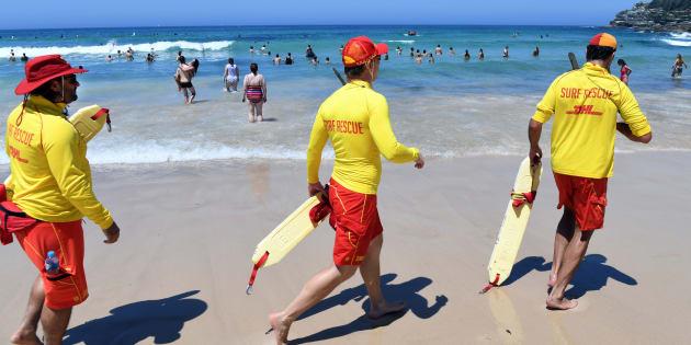 Surf lifesavers at Sydney's Bondi Beach on Saturday.  AFP / William WEST