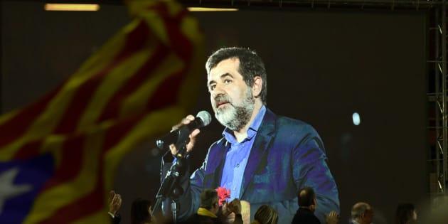Jordi Sànchez interviene mediante un vídeo durante la campaña.