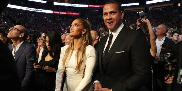 Jennifer Lopez et Alex Rodriguez dans les tribunes du combat de Mayweather et McGregor.