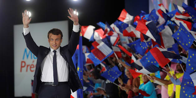 Emmanuel Macron lors de son meeting parisien de l'entre-deux-tours à Paris le 1er mai 2017.