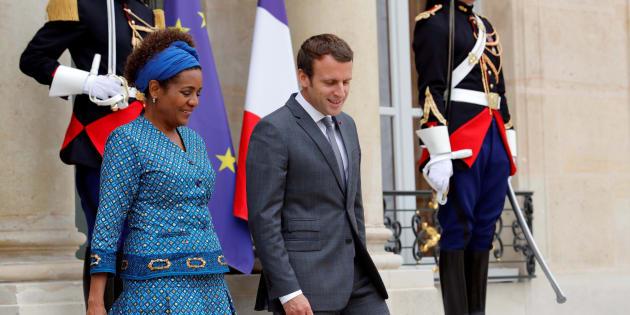 Michaëlle Jean, Secrétaire générale de l'OIF et Emmanuel Macron, président de la France.