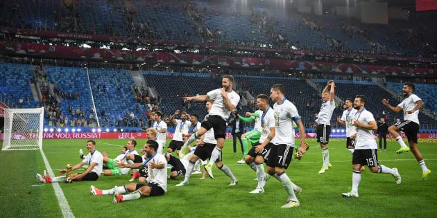 Les Allemands lors de leur victoire à la Coupe des confédérations, à l'été 2017.