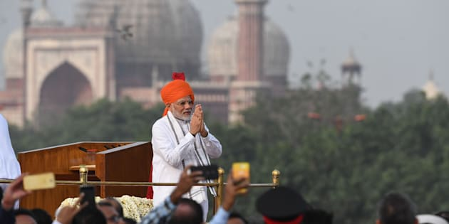Indian Prime Minister Narendra Modi at the Red Fort in New Delhi on August 15, 2018