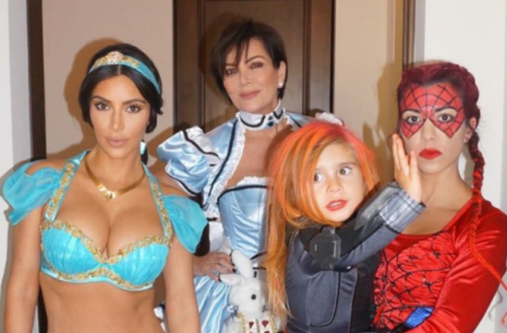 kim kardashian takes halloween pics with kanye north and saint in first major update since paris robbery aol