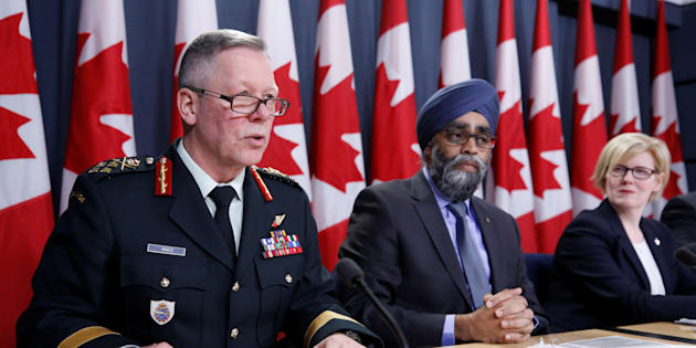 Chief of the Defence Staff General Jonathan Vance speaks during a news conference with Defence Minister Harjit Sajjan and Public Works Minister Carla Qualtrough in Ottawa on Dec. 12, 2017.