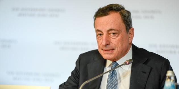 El presidente del Banco Central Europeo (BCE) Mario Draghi en una rueda de prensa en Riga (Letonia).