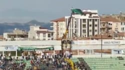 Turkish Soccer Fan Banned From Stadium Rents Crane To Watch