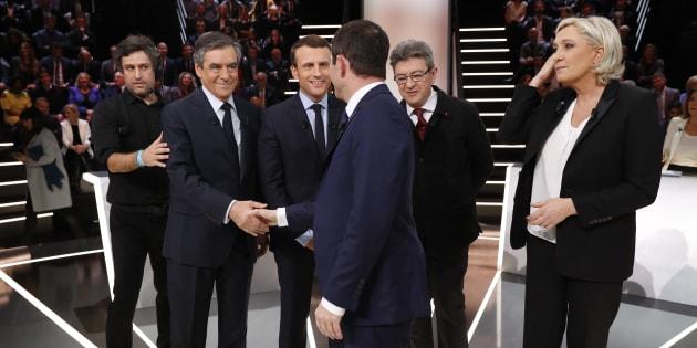 Mélenchon, Hamon, Macron, Fillon et Le Pen ont débattu lundi soir sur TF1.