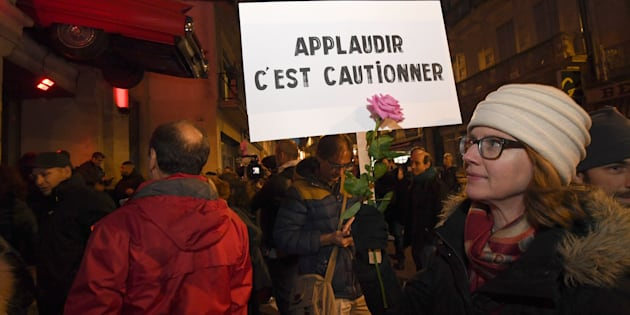 Une manifestation devant le Rockstore de Montpellier le 12 mars 2018.