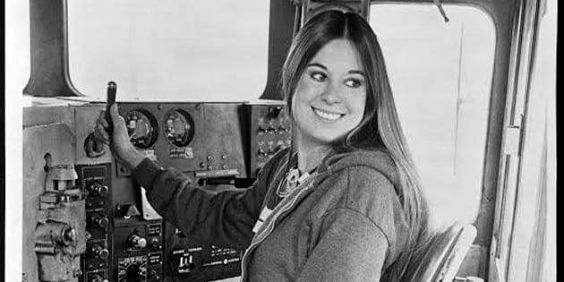 In 1976, Christine Gonzales was the first female engineer at Victorian railways. She made the 'hippie' hairdo look quite fabulous.