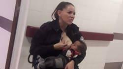 El emocionante gesto de una policía argentina amamantando a un bebé cuando estaba de