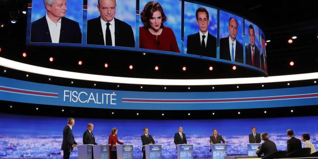 Les sept candidats sur le plateau du premier débat de la primaire de la droite.