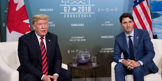 U.S. President Donald Trump and Canadian Prime Minister Justin Trudeau hold a meeting on the sidelines of the G7 Summit on June 8, 2018.