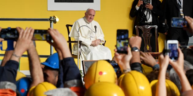 Pope Francis attends a meeting with workers of the Ilva steel plant as part of a one-day visit in Genoa, on May 27, 2017.  / AFP PHOTO / Andreas SOLARO        (Photo credit should read ANDREAS SOLARO/AFP/Getty Images)