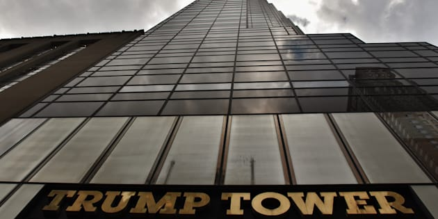 Facade of the Trump Tower in Manhattan, July 1, 2017. In Manhattan, where Donald Trump built his empire, prices for condos in buildings bearing his gilded name are falling in the first year of his presidency.