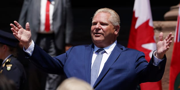 Ontario Premier Doug Ford gestures as he speaks during his unofficial swearing in ceremony in Toronto, Ontario, Canada, June 29, 2018.  REUTERS/Carlo Allegri