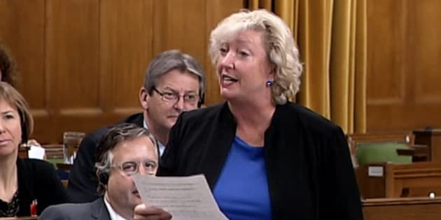Conservative MP Marilyn Gladu stands in the House of Commons to read a poem criticizing the government's pot bill.