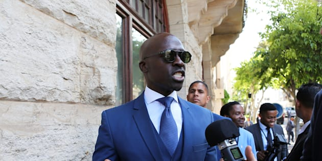 Finance Minister Malusi Gigaba speaks to members of the media after delivering his medium-term budget speech in Parliament, in Cape Town, South Africa, October 25, 2017.