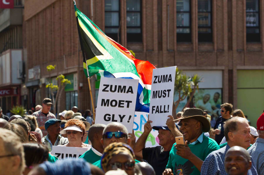 "Image result for South Africans hold ""Zuma must fall"" protests ahead of no-confidence vote"