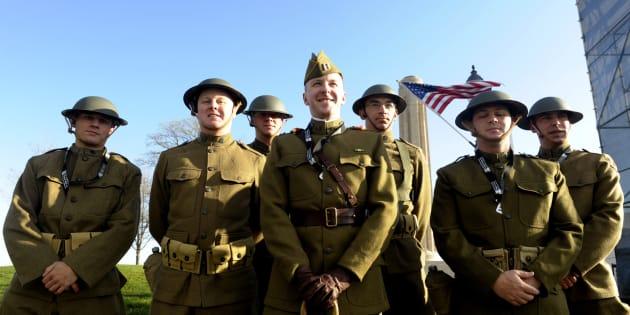 """Les soldats de la """"1st Infantry Division"""" en tenue de 1917, le 6 avril 2017"""