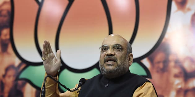 BJP National President Amit Shah addresses the media after winning Assam Assembly election 2016 as the election results of five States - Assam, Tamil Nadu, West Bengal, Karela, and Pondicherry come out, at BJP HQ, on May 19, 2016 in New Delhi, India.