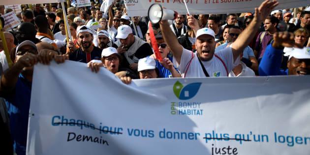 Manifestation contre le projet de loi du gouvernement devant réduire les aides au logement, le 16 octobre 2017 à Paris.