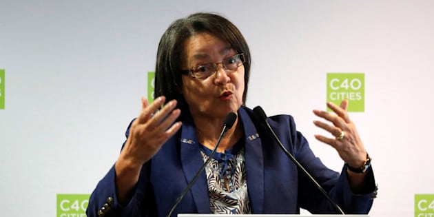 Cape Town mayor Patricia de Lille speaks during a two-day summit of the C40 Cities initiative, a network of cities making plans to cut planet-warming greenhouse gas emissions along levels agreed upon in Paris two years ago, in Paris, France, October 23, 2017. REUTERS/Charles Platiau