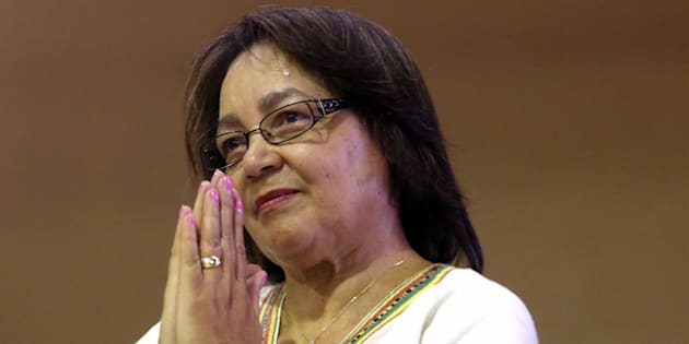 Cape Town mayor Patricia de Lille gestures during a service to pray for her at World Harvest Ministries on January 14 2018 in Langa, South Africa.