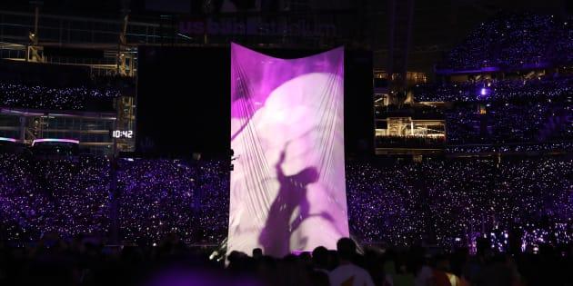 Justin Timberlake assurant le show à la mi-temps de la finale du dernier Super Bowl, le 4 février 2018.