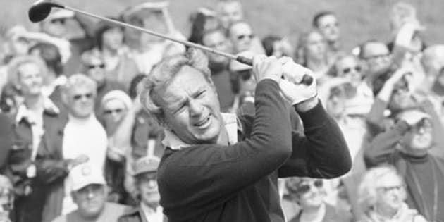 """File-This Feb. 19, 1976, file photo shows Arnold Palmer for the start of Glenn Cambell Los Angeles Open. Palmer, who made golf popular for the masses with his hard-charging style, incomparable charisma and a personal touch that made him known throughout the golf world as """"The King,"""" died Sunday, Sept. 25, 2016, in Pittsburgh. He was 87.  (AP Photo/JLR, File)"""