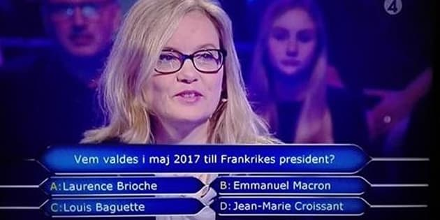 Quand un jeu télé suédois invente des noms improbables pour une question sur Emmanuel Macron