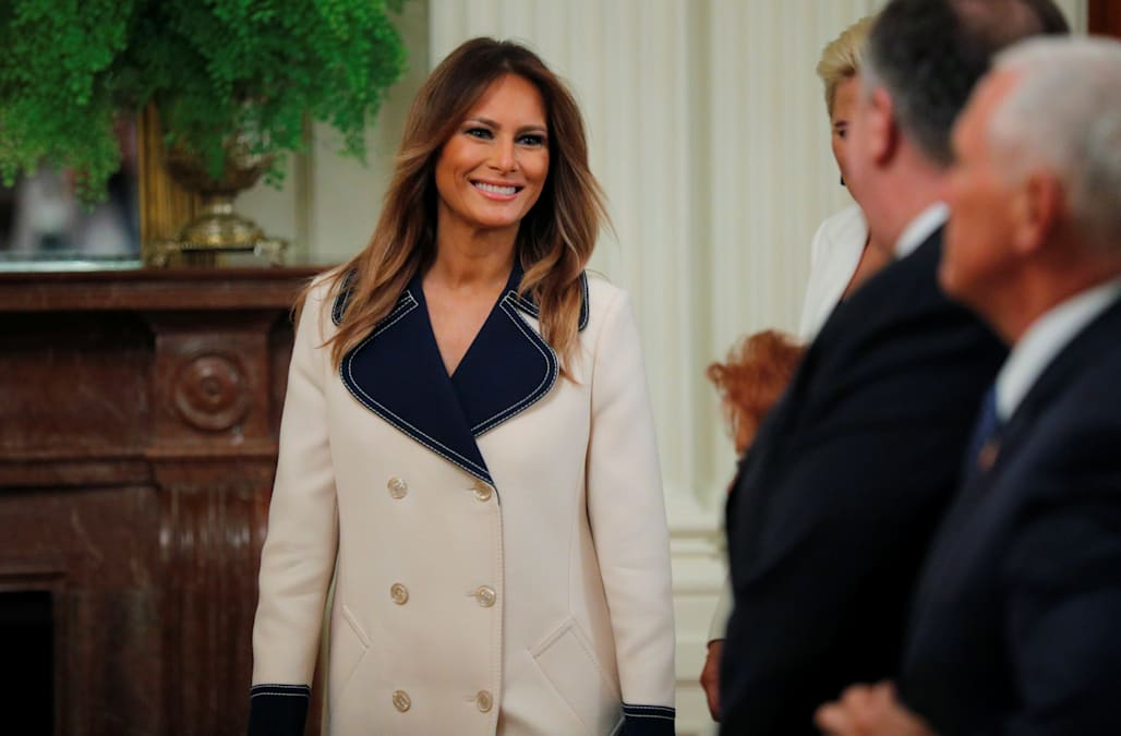 0fd9bb95b0a Twitter had some things to say about the  4000 Gucci coat Melania Trump  wore to meet the Polish president