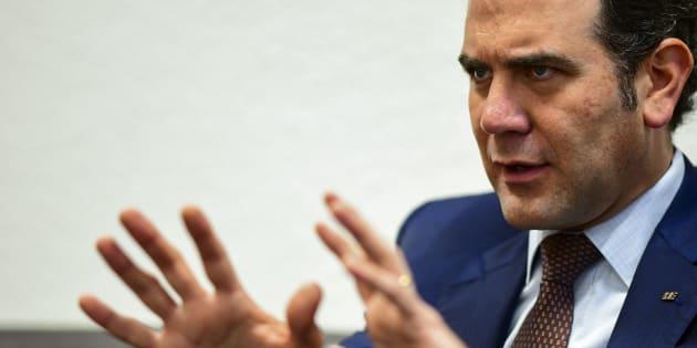 El presidente del Instituto Nacional Electoral (INE), Lorenzo Córdova habla durante una entrevista con la AFP en la Ciudad de México,