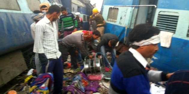 Rescue operations underway after 14 coaches of Patna-Indore express derailed near Pukharayan around 3 am on Sunday.